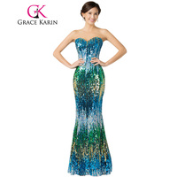 Fast Delivery Grace Karin Sexy Sequins Colorful Prom Dress Elegant Floor Length Long Formal Dancewear Gown
