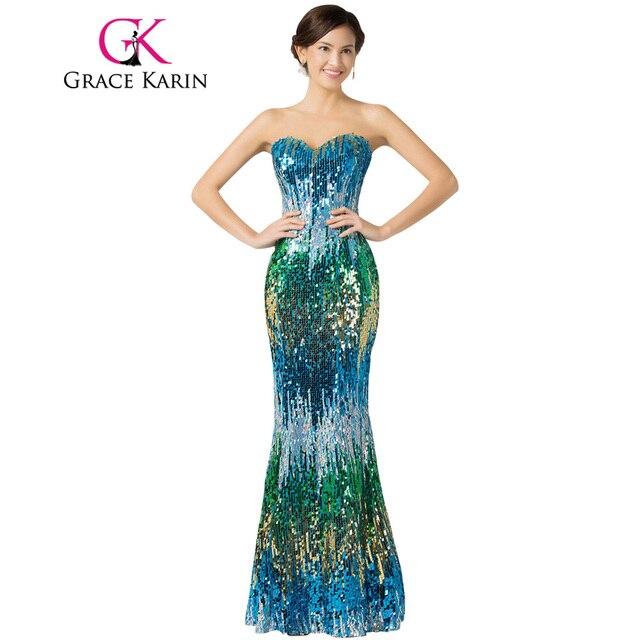 Грейс Карин сексуальные красочные элегантные блесток Выпускные платья элегантный пол Длина длинные торжественное платье для танцев пикантные вечерние платье 7517