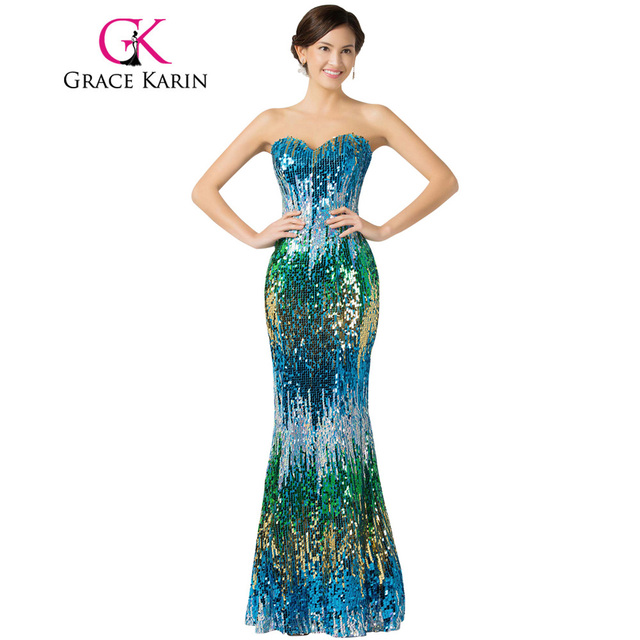 Aliexpress Buy Grace Karin Sexy Colorful Elegant Sequin Prom
