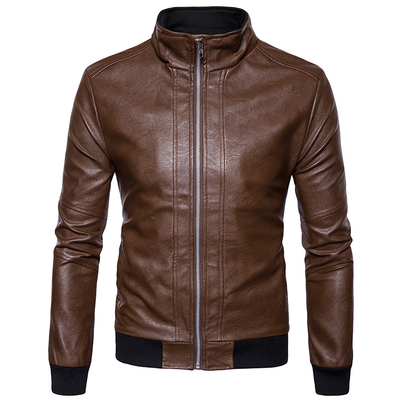 Autumn and winter clothing mens leather jacket collar cuff solid new leather casual fashion short Motorcycle Jacket