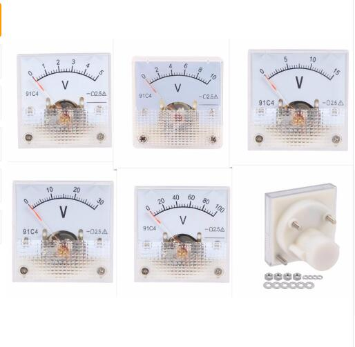 پانل آنالوگ ولت متر ولتاژ ولت متر ولتاژ سنج 91C4 DC 3V 5V 10V 15V 20V 30V 50V 100V 150V 250V