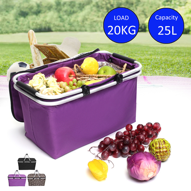 25L Portable Insulation Ice Pack Car Cooler Bag Camping Hiking Lunch Box Picnic Bags Folding Food Storage Basket Outdoor Package