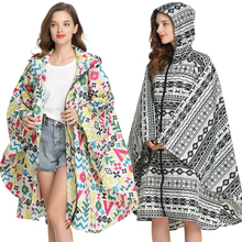 Womens Fashion Rain Poncho Coat Waterproof Raincoat Cape Portable with Hood and Zipper for Hiking Touring Bicycling Freesmily