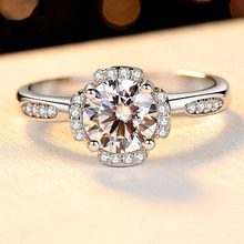 1CT Engagement Ring Women 6.5mm Shiny CZ Stone Romantic Gift Genuine 925 Sterling Silver Jewelry Prong Settings