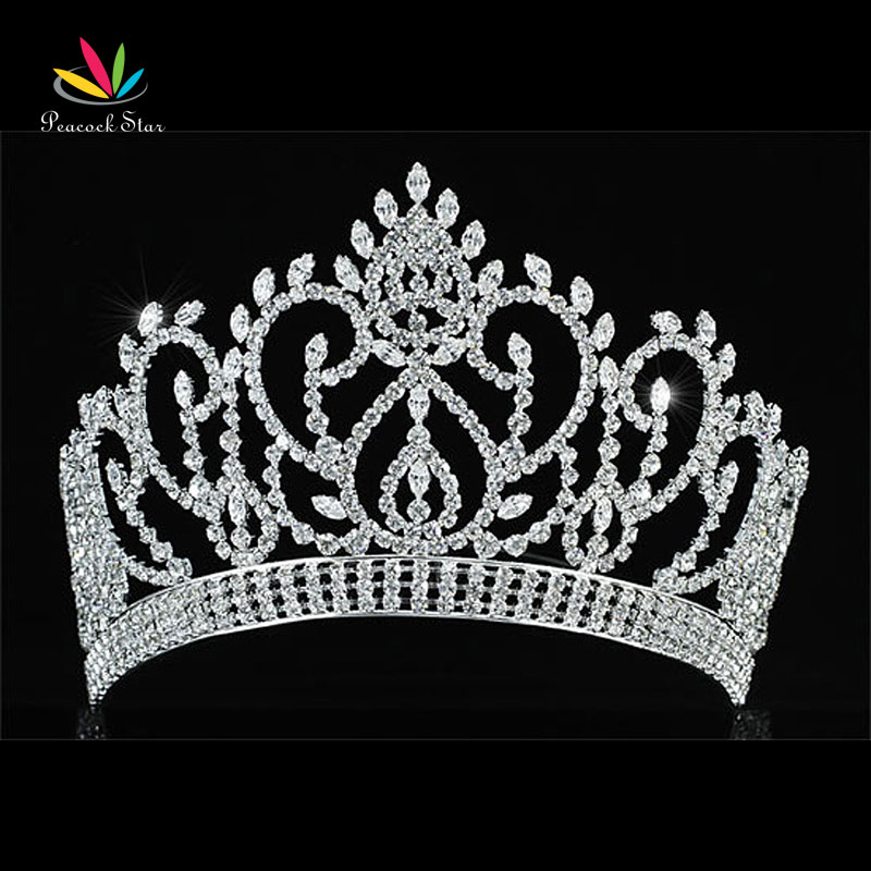 Peacock Star Vintage Style Pageant Beauty Contest Tall 4.5 Tiara Full Circle Round Crystal Crown CT1724 peacock star bridal wedding party quality sparkling pageant beauty contest black crystal tall tiara ct1389