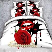 Impressão 3D Conjuntos de Cama de Capa de Edredon Rosa Vermelha Lábios Sensuais adulto/3/4 pc Meninas 500TC Rainha Cheia Rei Super Fundamentos De Casamento branco