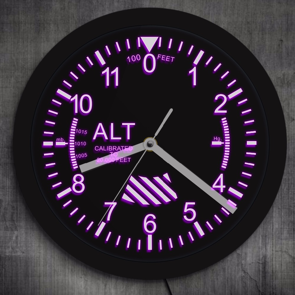Altimeter Neon Sign LED Wall Clock Altitude Meter Tracking Pilot Air Plane Altitude Measurement Modern Wall Clock Watch Gag Gift