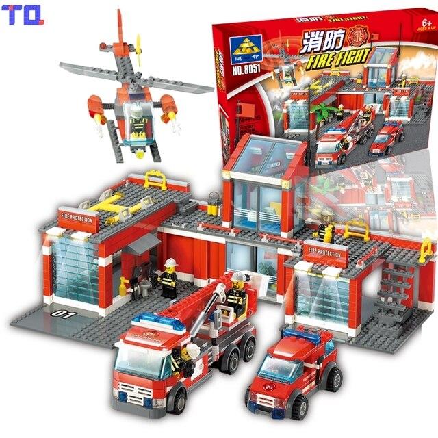 blocs de construction kazi feu station pompier hlicoptre playmobil jouet ducatif cadeau danniversaire compatible - Playmobil Pompier
