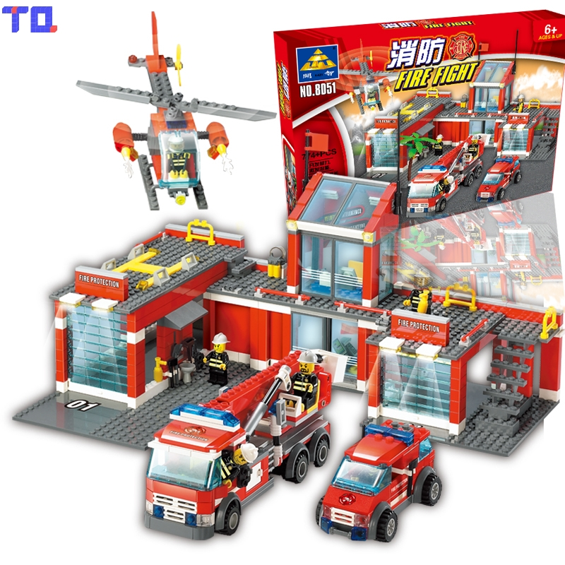 Kazi Building Blocks Fire Station Firefighter Helicopter Playmobil Educational Toy Birthday Gift Compatible with Legoe kazi 6726 police station building blocks helicopter boat model bricks toys compatible famous brand brinquedos birthday gift