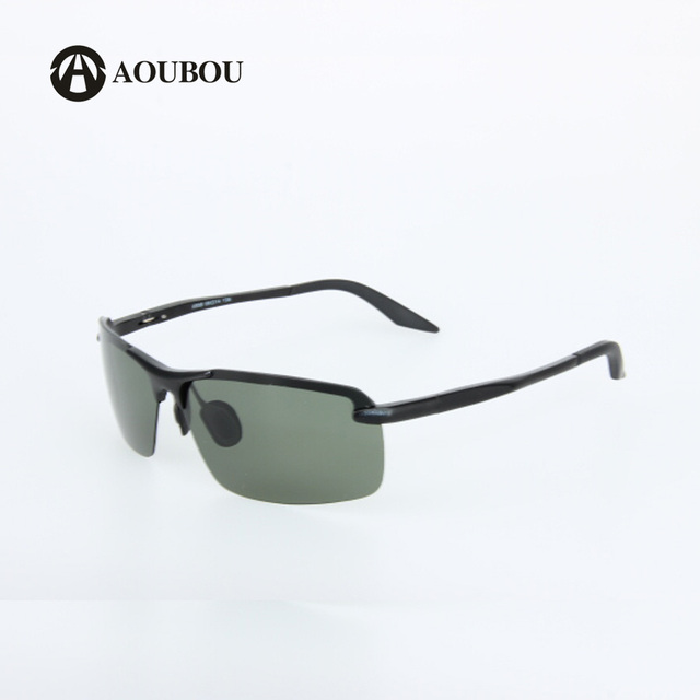 AOUBOU Brand Men Polarized Sunglasses  Pilot Sun Glasses Aluminum Semi-Rimless Matte Black Glasses UV400 Green LensOculos 6192