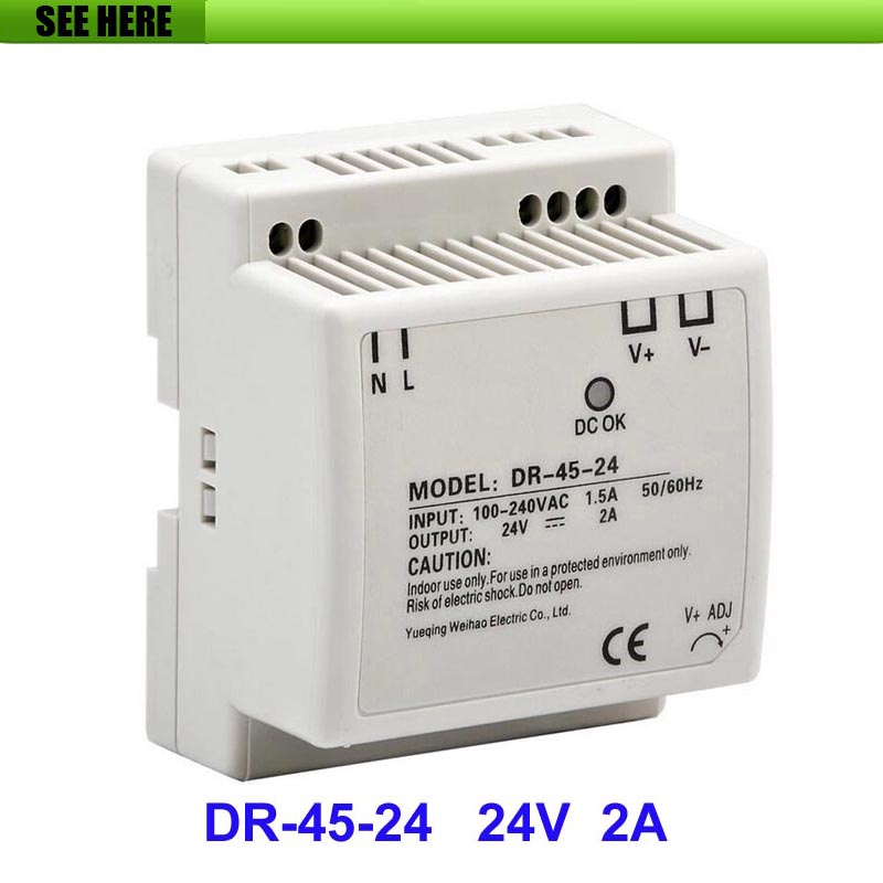 Free Shipping Best quality 45W 24V 2A Mini size LED Switching Power Supply Transformer Input 85~264(V) AC to DC 24V Output high quality aluminium dc12v 21a 250w waterproof power supply ip67 led transformer free shipping