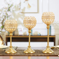 Gold Crystal Morocco Candle Holder Wedding Stand Romantic Candelabra Metal Big Candle Ball Stand Candlestick Christmas X6T021