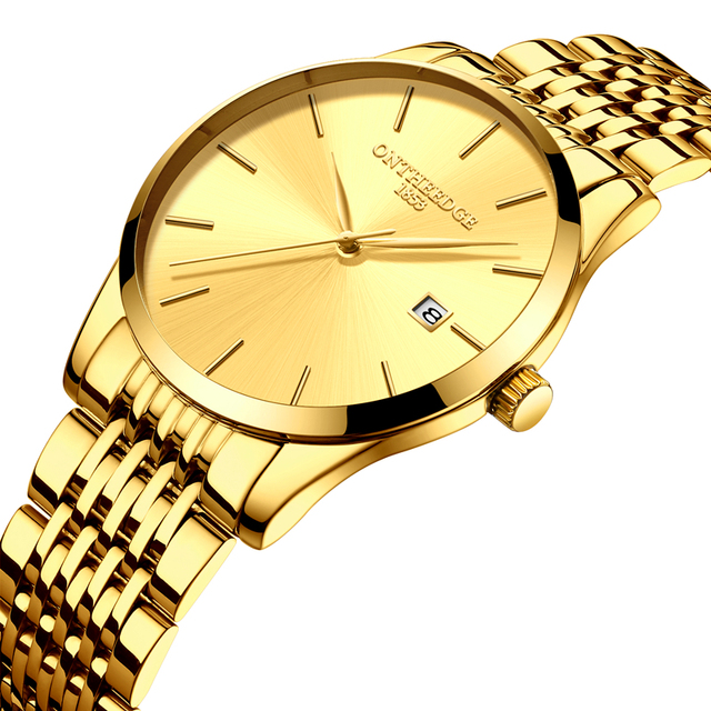 Ontheedge Jam Tangan Pria Mewah Steel QUARTZ Pergelangan Tangan Watches  Ultra Tipis Pria Pria Tahan Air 41b2636e47