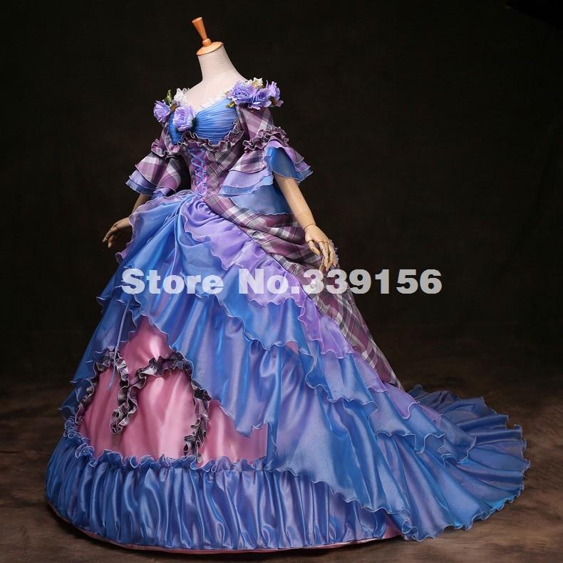 Custom High-grade Blue Paid Women Civil War Victorian Masquerade Ball Gown 18th Century Marie Antoinette Renaissance Party Dress