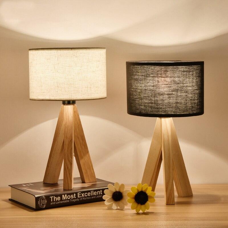 Moderne d'origine bois table lampes chambre de chevet lampe de bureau décoration en bois véritable étude de bureau led lampe de bureau pliable table lumières