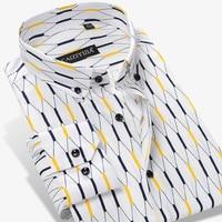 New Arrived 2017 Men S Contrast Argyle Plaid Long Sleeve Cotton Shirt High Quality Slim Fit