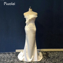Ruolai Real Photo Special Design Wedding Dress Sweep Train