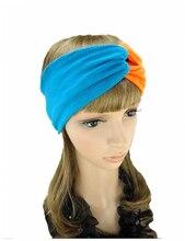 T17594 Леди хороший стрейч 100% хлопок мода твердые хлопок цвет блока тюрбан оголовье летом оголовье аксессуары для волос