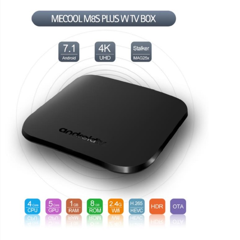 MECOOL M8S PLUS W Android 7.1 TV Box 1GB RAM + 8GB ROM 2.4G Wi-Fi Ultra Thin BOX Media Player Set Top Box jesurun a18 android 4 2 2 dual core google tv player w 1gb ram 4gb rom hdmi wi fi black