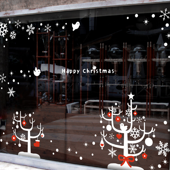 Christmas Vinly Wall Sticker X mas Tree Snow Large wall glass window sticker Coffee Shop Clothes Shop Window Decoration