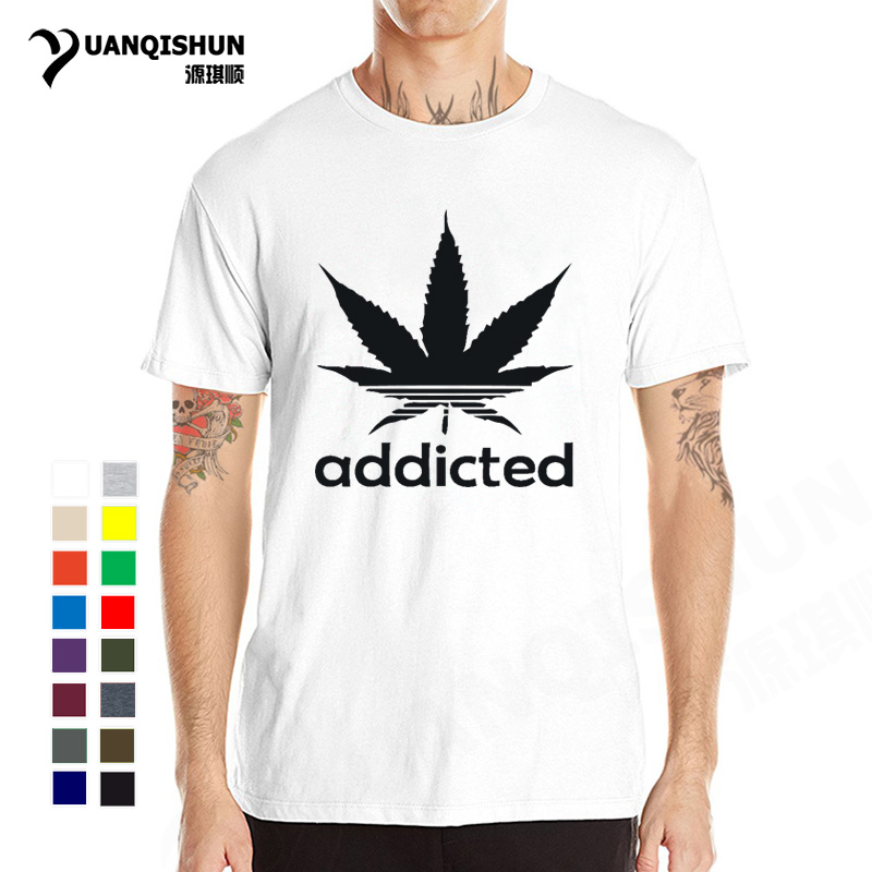 Addicted Weed Leaf T Shirts 31 colors 2018 Summer Men Casual Boutique Tshirt Cotton Short Sleeve Tee Funny Hip Hop Man T-shirt