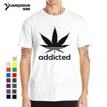 96b3e7f08 Folha de Erva Daninha viciado Camisetas 31 cores 2018 Verão Boutique Tshirt  Dos Homens Casuais Algodão