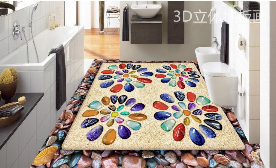 Gekleurd Vinyl Vloer : D vloertegels sandy gekleurde stenen custom d floor schilderen