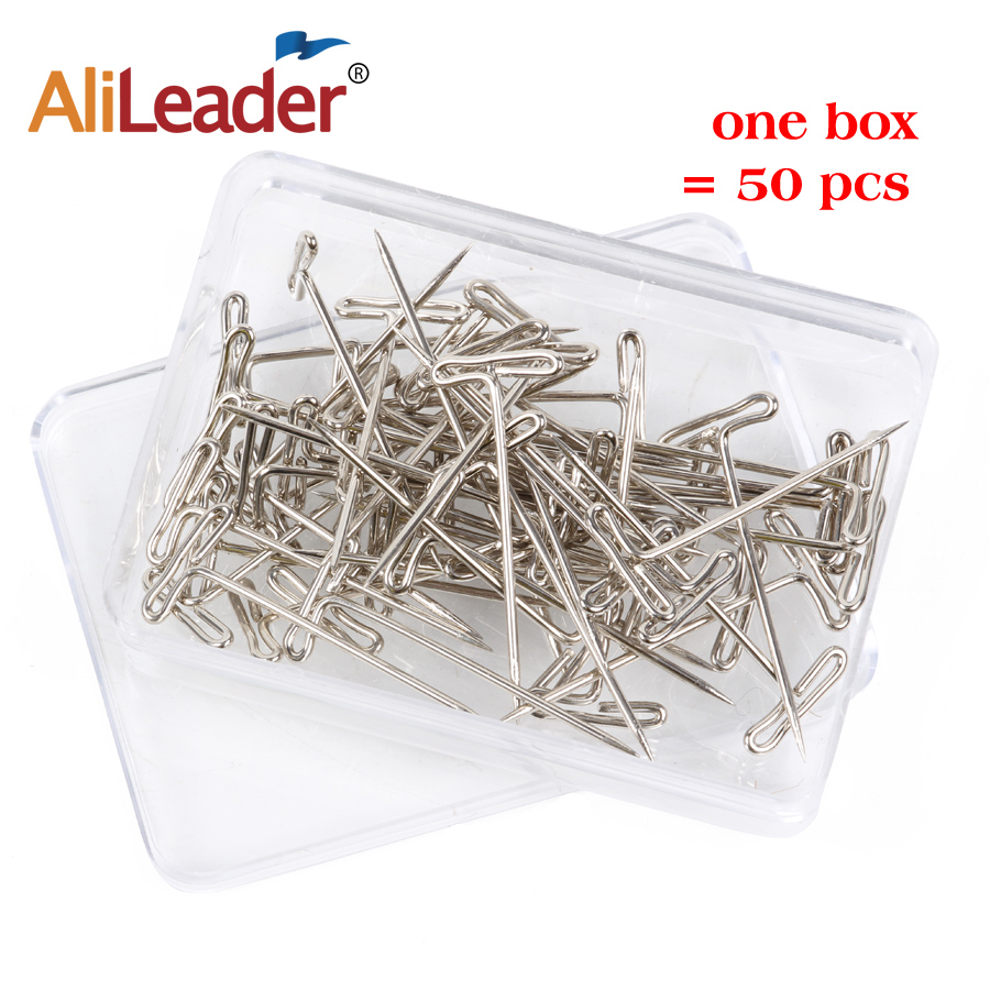 50Pcs/Pack T-Pins For Making Wig Stainless Steel Pining To Block Knit Or Crochet Projects 1.5 Inch T Pins For Blocking Lace