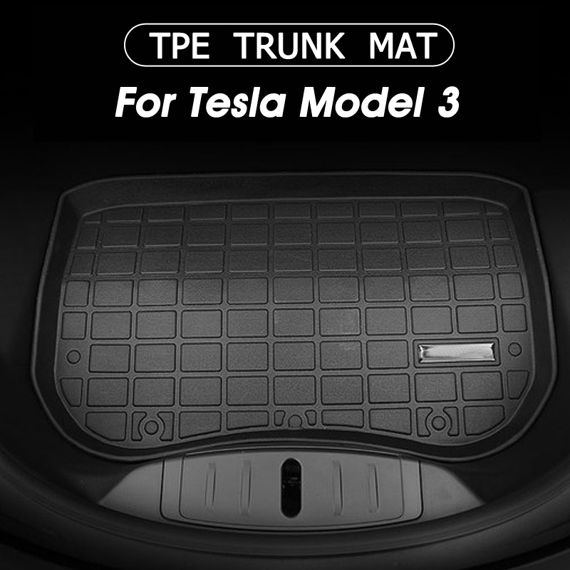 Auzan Floor-Mat Boot Trunk Cargo-Tray Tesla Custom Front Black Model-3 Tpe-Material Waterproof