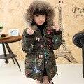 2015 Novos Meninos e Meninas Jaqueta de Inverno Crianças Casaco Acolchoado de Algodão Grosso Virgem Grande Padrão de Camuflagem Casaco Para O Inverno Frio
