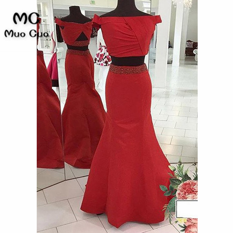Popular 2018 Off Shoulder Prom Dresses Long 2 Pieces Gown Short Sleeves Floor Length Satin Red Beaded Formal Evening Party Dress