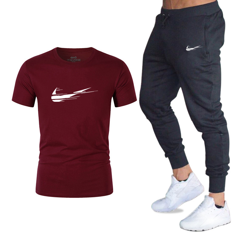 2019 Heißer Verkauf Marke Männer T-shirt + Jogginghose Zwei-stück Casual Sportswear Herren Sport Hemd T-shirt + Sport Hosen Anzug