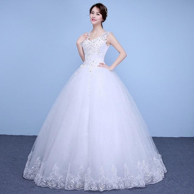 Prinsessen Trouwjurk.Nieuwe Lente En Zomer Goedkope Witte Bruiloft Japon Lace Up Prinses
