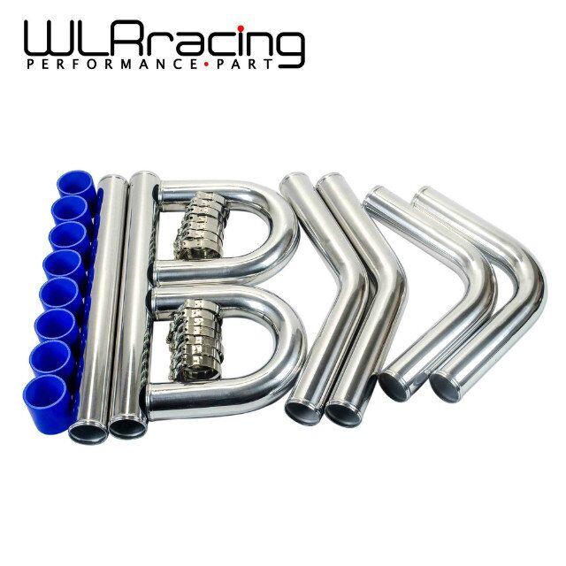 WLR - 2.5''63mm TURBO INTERCOOLER PIPE 2.5 L=600MM CHROME ALUMINUM PIPING PIPE TUBE + T-CLAMPS + SILICONE HOSES BLUE WLR1718