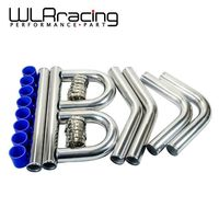 WLR 2.5''63mm TURBO INTERCOOLER PIPE 2.5 L=600MM CHROME ALUMINUM PIPING PIPE TUBE + T CLAMPS + SILICONE HOSES BLUE WLR1718