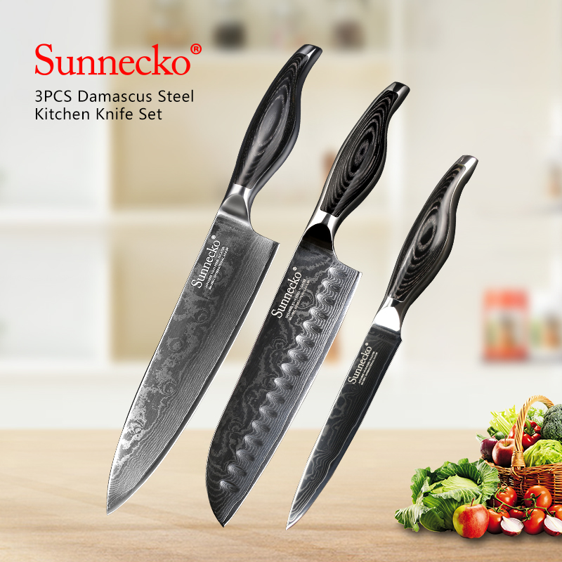 SUNNECKO 3PCS Kitchen Knives Set Utility Chef Knife Japanese Damascus VG10 Steel Razor Sharp Blade Pakka