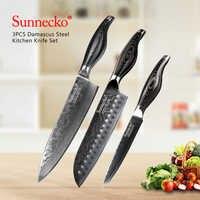 SUNNECKO 3 PCS Küche Messer Set Utility Chef Messer Japanischen Damaskus VG10 Stahl Rasiermesser Scharfe Klinge Pakka Holz Griff Cutter werkzeug