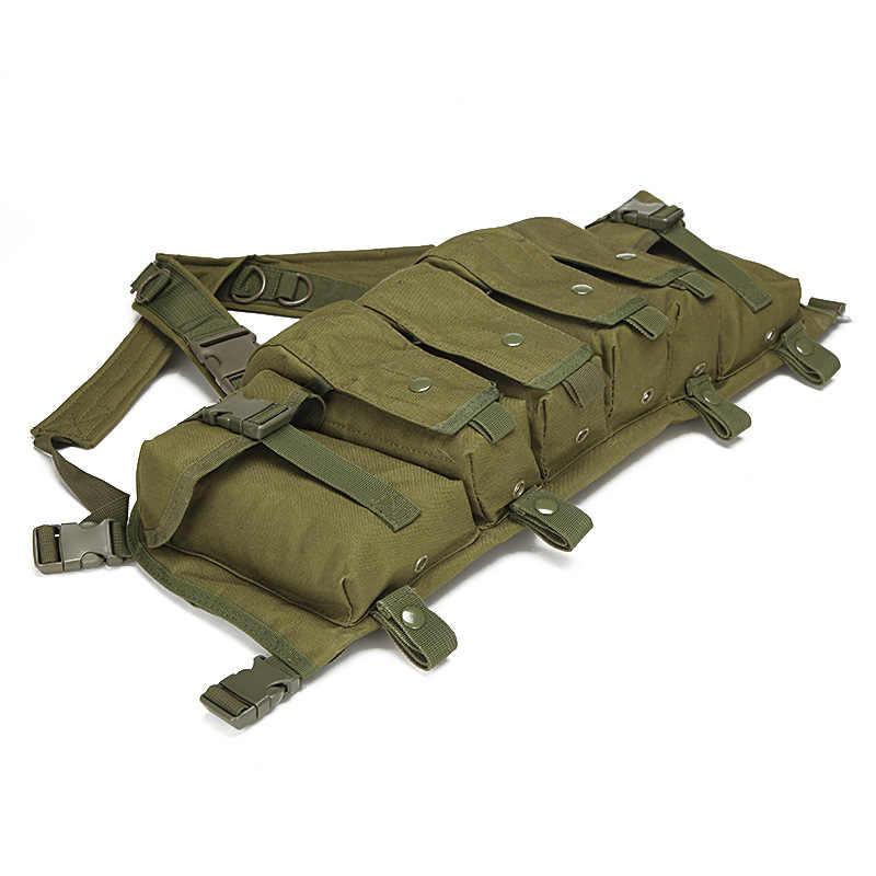 التكتيكية سترة الادسنس الذخيرة الصدر تزوير AK 47 مجلة الناقل سترة القتالية التكتيكية العسكرية الصيد والعتاد