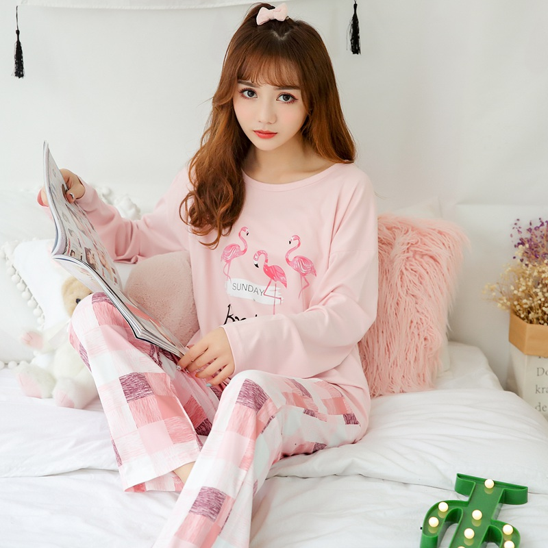 Girls Cute Cartoon Flamingo Sleepwear Pajamas Sets For Women 2019 Spring Long Sleeve Pyjama Homewear Pijama Mujer Lounge Clothes