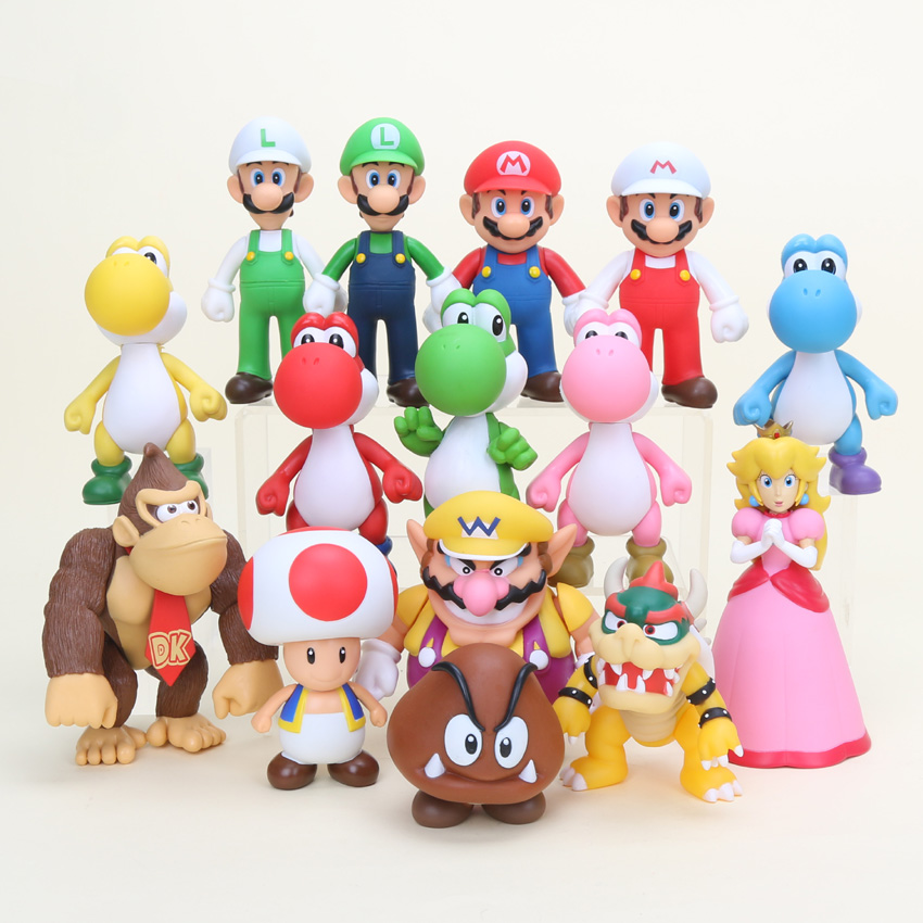 15pcs Hot 8 15cm Bros Bowser Super Mario Koopa Yoshi Mario PVC Action Figures Luigi Donkey
