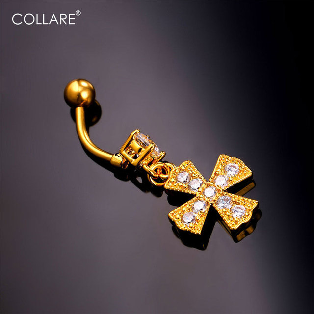Us 4 74 5 Off Collare Crystal Latin Cross Piercing Nombril Belly Button Rings Navel Piercing Gold Silver Color Bikini Women Body Jewelry Db139 In