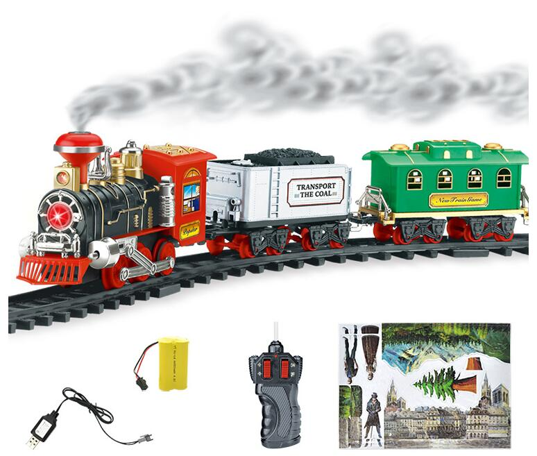 Classic Train Set for Kids with Smoke Realistic Sounds Light Remote Control Railway Car Christmas Gift Toy ...