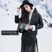 Irresistible Style Merino Sheep Fur Motorcycle Jacket Black Sheepskin Fur Short Coat Genuine Merino Fur Skin Jacket For Women