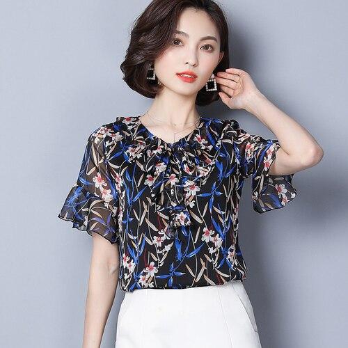 442bf3d0410 2018 Summer Female Floral Chiffon Shirt Short Sleeve Flower Print Blouse  Plus Size Flare Sleeve Casual Temperament Blouse Slim