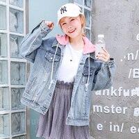 Kpop Harajuku 2018 Women Basic Coat Denim Jacket Winter Women Hooded Jeans Jacket Women Denim Coat Loose Fit Casual Style