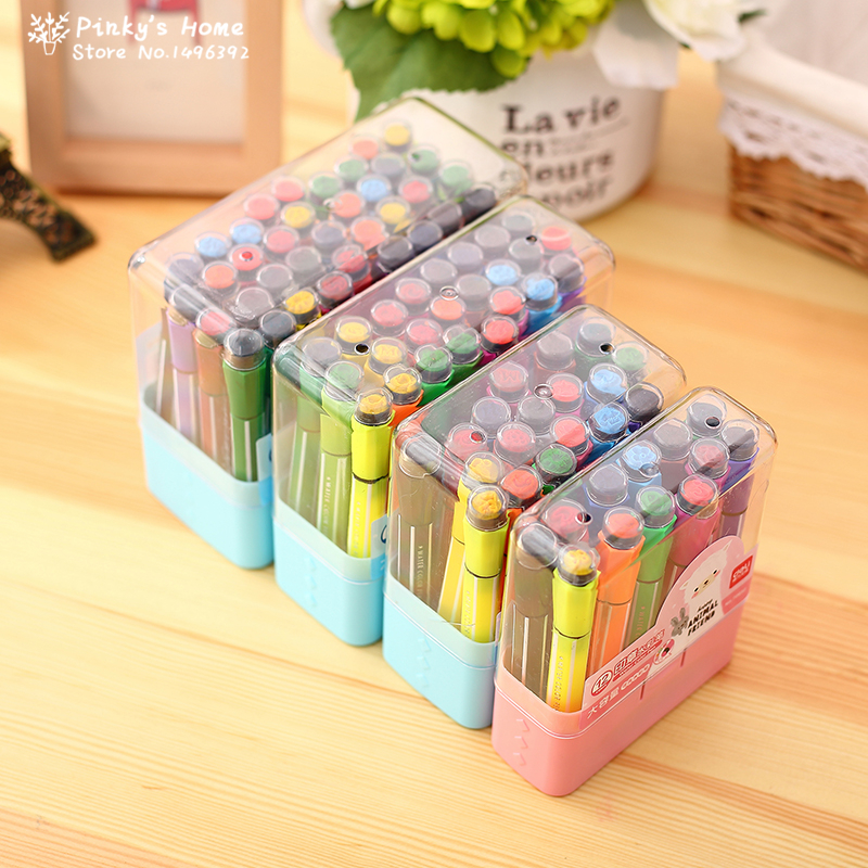 Cute Kids Drawing Pens Stamp Children Washable Watercolor Pen Graffiti Painting Pen 12/18/24/36 Color Set