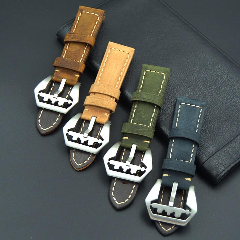 купить Handmade 22mm 24mm Italy Vintage Genuine Leather Watch Band with fashion Stainless Steel Buckle Watch Strap for Panerai watch по цене 990.73 рублей