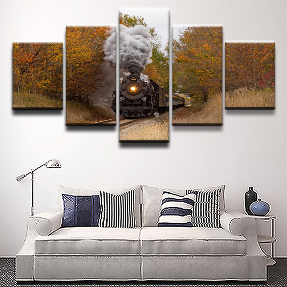 Frame Wall Art Home Decor Modern Poster 5 Panel Fall Railways Train For Living Room Canvas HD Modular Painting Print Pictures