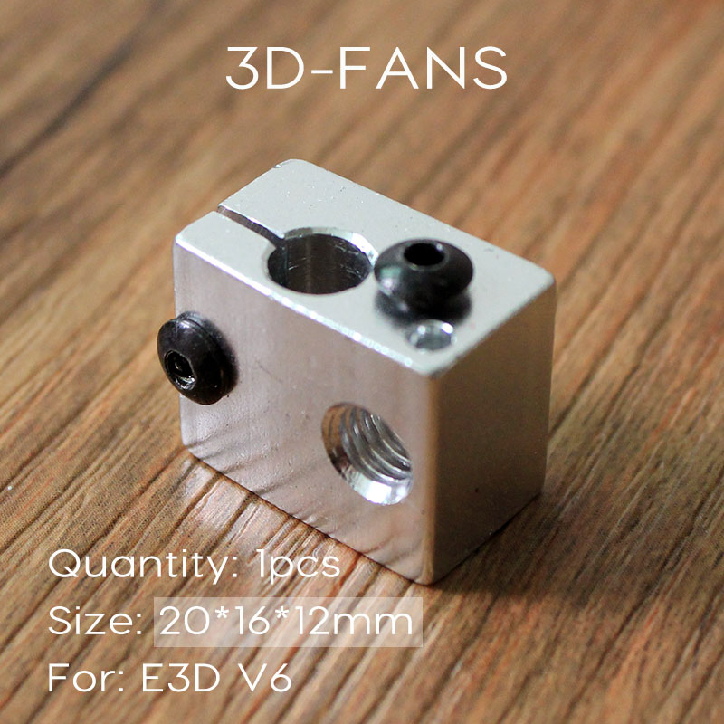 1Pcs Reprap E3DV6 Aluminum Heater Block All-Metal E3D V6 Extruder For HotEnd 20*16*12mm For 3D Printer Parts