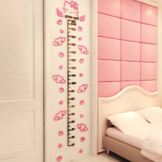 Cute Cartoon Hello Kitty Height Wall Stickers for Kids Rooms Acrylic 3D Measure Ruler Adesivo De Parede Infantil DIY Decal 180cm